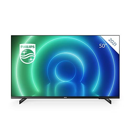 Philips 50PUS7506/12 50 Zoll LED-Fernseher, 4K Smart TV, HDR-Bild, kinoreifer Dolby Vision- & Atmos-Sound, Gaming Fernseher, kompatibel mit Google Assistance und Alexa, Matter Rahmen