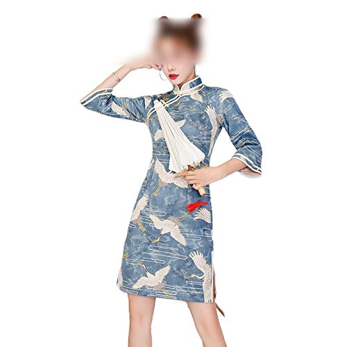 who-care Estilo chino tradicional de las mujeres mini vestido de Qipao de la moda sexy retro moderno Tang traje Hanfu vestidos de Cheongsam ropa oriental