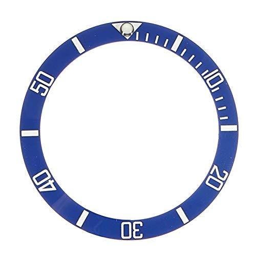 DAAGFC Accesorios de repuesto para relojes de cara de reloj con bisel de cerámica para 40 mm Submariner Automático Mens Negro/Azul/Verde 38 mm (Color: AzulBlanco)