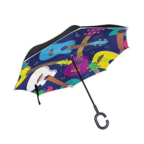 HYJDZKJY Paraguas invertido de Doble Capa Paraguas invertido Ukelele Hawaiano Pop Colorido A Prueba de Viento A Prueba de UV Paraguas al Aire Libre de Viaje