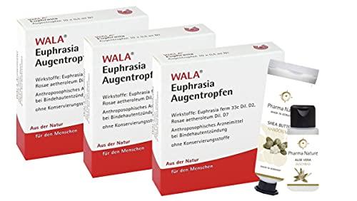 Euphrasia Augentropfen von Wala 10 x 0,5 ml Sparset bestehend aus 3 x 10 Ampullen und 1 x Handcreme (ODER Duschbad) von Pharma Nature