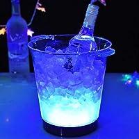 カラフルなLEDアイスバケツ、ルミナスアイスグローイング雰囲気ホリデーパーティーバーマルチカラー・クラブバーセットアイスショック点滅ビールワインウイスキー (Color : Blue)