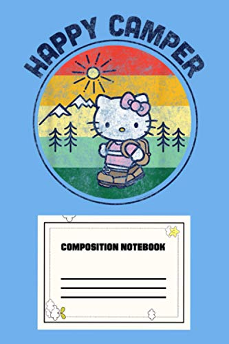 Hello Kitty Happy Camper 1Z Notebook: 120 Wide Lined Pages - 6' x 9' - College Ruled Journal Book, Planner, Diary for Women, Men, Teens, and Children