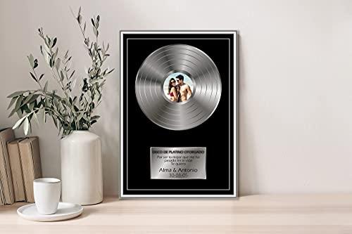 Oedim Regalo Original Placa Metacrilato Disco de Plata Personalizado, Fabricado en Metacrilato 4mm, 19,5 x 28,2cm, Efecto Espejo, con Apoyo