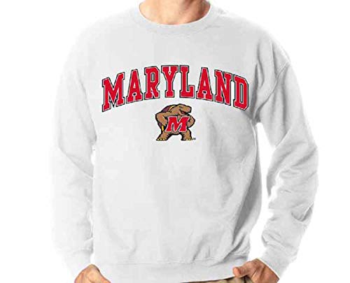 Campus Colors NCAA Adult Arch & Logo Gameday Crewneck Sweatshirt (Maryland Terrapins - White, X-Large)