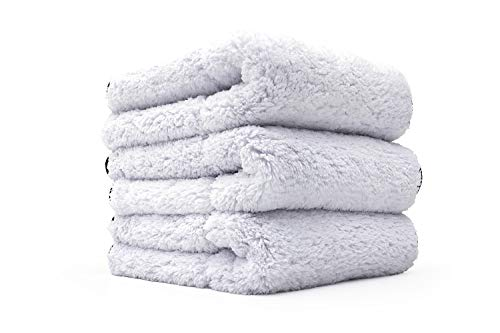 The Rag Company Everest 1100, Ultra Plush Korean 70/30 Blend Professional Microfiber Detailing Towels, 16in x 16in, 1100gsm, White (Pack of 3)