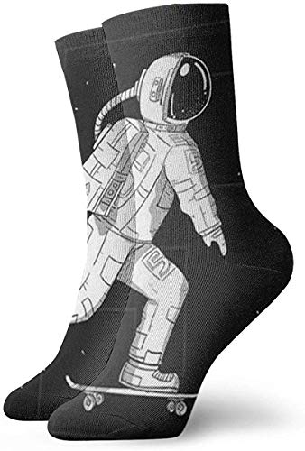 hdyefe Neuheit Lustige verrückte Crew-Socke Coole Astronauten-Skating auf dem Mond 3D-gedruckte Sport-Sport-Socken 30 cm lange personalisierte Geschenksocken