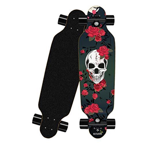 Deloito Longboard Straßen Skateboard 80cm Vierrädriges für Jungen Mädchen Skateboards Erwachsene Kinder Anfänger Bürsten Straßenbrett (B-02)