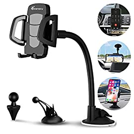 Car Phone Mount, Vansky 3-in-1 Universal Cell Phone Holder Car Air Vent Holder Dashboard Mount Windshield Mount for iPhone Xs Max R X 8 Plus 7 Plus 6S Samsung Galaxy S9 S8 Edge S7 S6 LG Sony and More 8 ☑️  - Vansky car phone mount can be wall-mounted or clipped to your car's air vent / dashboard mount / windshield phone mount for convenience. ☑️  - No tools required. Easy one press button to releases the clamps on your phone with just a push of a finger. ☑️  - The 360 degree rotatable phone holder for car lets you find the perfect angle to view your Smartphone at a quick glance.