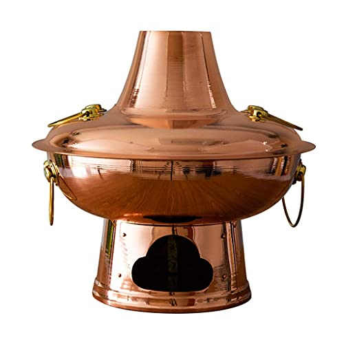 Pentola calda Cucina cinese vecchio stile Pentola calda in rame puro per uso domestico Carbone di legna di grande capacità Pentola per zuppa bollente-34cm