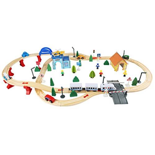 LIYANG Juguete del Coche De La Pista del Tren Conjunto De Entrenador De Madera Juego De Tren Juego De Tren De Madera Conjunto De Tren De 3 Años De Edad Y Tren (Color : Natural, Size : One Size)
