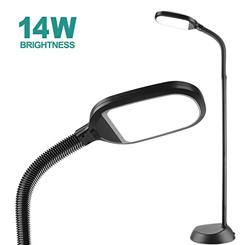 14W addlon LED Floor Lamp: Reading Light Craft Lights 2 Brightness Level Dimmable Head Natural Daylight Standing Pole Light with Gooseneck for Sewing Bedroom Office Artist (Black) -Floor Lamps