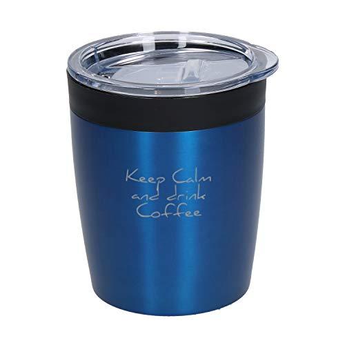 Coffee To Go Becher Thermo Personalisierter Kleiner Kaffeebecher mit Namen 0,28 Liter aus Edelstahl Praktischer Isolierbecher mit Wunschgravur Thermobecher Doppelwandiger Trinkbecher mit Gravur (Blau)