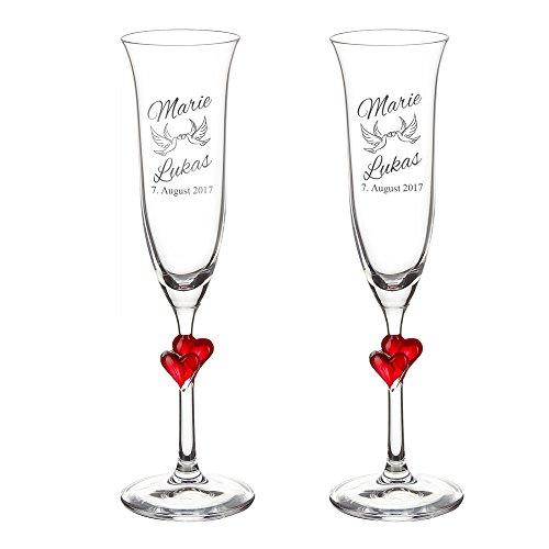 Casa Vivente Geschenkset zur Hochzeit – Sektgläser und große Schatztruhe mit Gravur – Motiv Tauben – Personalisiert mit Namen und Datum – Hochzeitsgeschenke für Brautpaar - 2