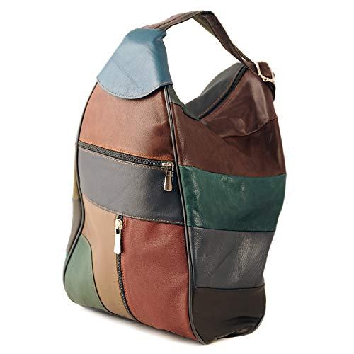 S&F Damenledertasche aus 100% echtem Lammleder. Verwendbar als Rucksack, Handtasche, Henkeltasche und Schultertasche (Bunt)
