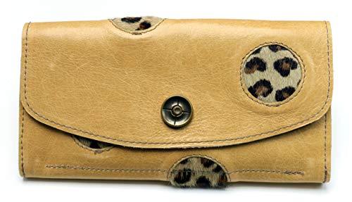 Portemonnaie/Geldbörse aus echtem Rindsleder & Kuhfell | 4 Fächer (Kleingeldfach mit Reißverschluss), 12 Kartensteckfächer, Druckknopf | Maße: 19,5 cm x 10 cm x 2 cm | beige-Leopard