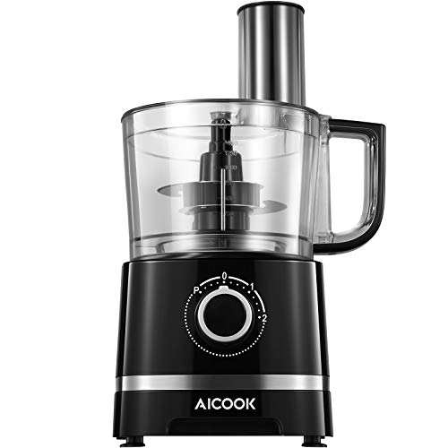 Food Processor Aicook, 700W Electric Kitchen Food Chopper, 4 in 1 Multifunctional Food Mixer with 2L Bowl, Dough Blade, Blade Adapter, Slicing & Shredder Disc, 3 Speed Plus Pulse