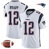 CSHASHA Tom Brady # 12 Jersey Rugby Hommes -NFL New England Patriots - Broderie Courte SleeveSport Maillots T-Shirt De Football White-XXXL
