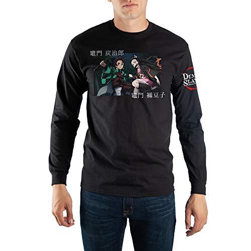 Demon Slayer Anime Cartoon Mens Black Long Sleeve Shirt-Large