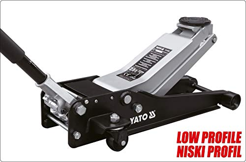YATO professionele garagekrik 2,5 t / 2500 kg, vlak, hefhoogte: 85 – 520 mm, lage uitvoering, ultra licht, snel optillen door dubbele zuigpomp, krik laag profiel, sportwagen racesport