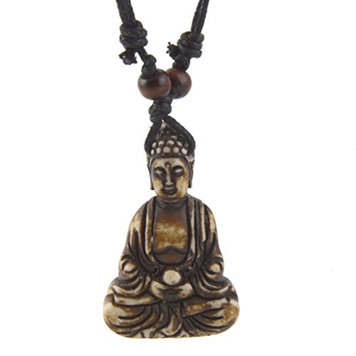 HZMAN Vintage Tibetan Amitabha Buddha Pendant Prayer Buddhist Necklace Hemp Rop Chaine