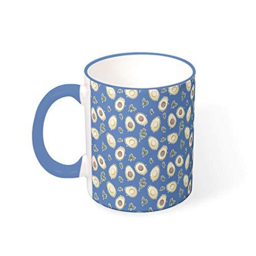 O2ECH-8 11 OZ Avocado Wasser Kakao Becher Tasse mit Griff Keramik Fun Becher - Lustige Früchte Mädchen Frauen Geschenke, Geeignet für Haus verwenden Steel Blue 330ml