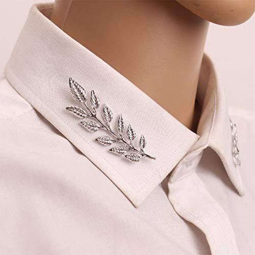 Yienate 1 paire d'épingles à vêtements tendance en forme de feuille en argent pour homme et femme