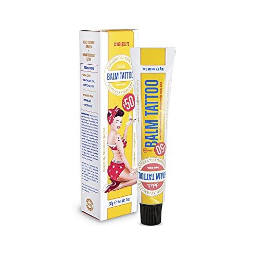 BALM TATTOO Crema Solar para Tatuajes Balm Tattoo Solar Vegano 70+, Alta protección UVA + UVB, SPF 50+, Hidrata y Regenera la Piel, Sin Parbenos ni Colorantes, 30 gr