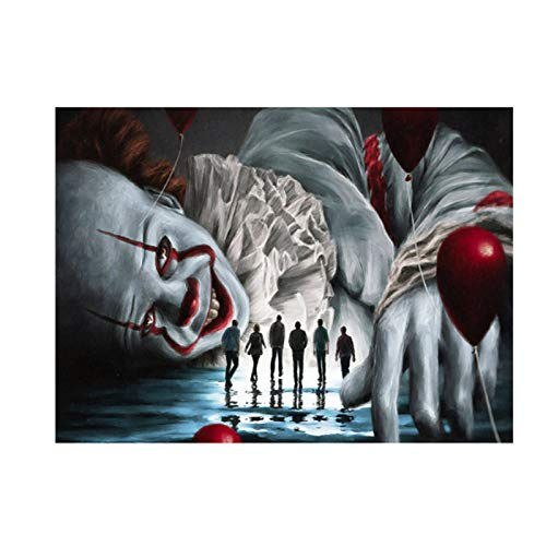 ZFHZA DIY Diamond Painting Rhinestone Embroidery 3D Horror Clown Movie Character Round Resin Diamond Cross Stitch Home Decoration(11.8x15.8inch)