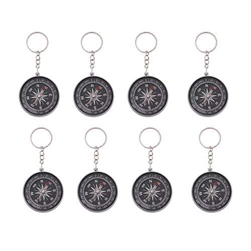 STOBOK 12pièces Pirate Douille avec Porte-clés Boussole Porte-clés Anneau Porte-clés Pendentif (Argent)