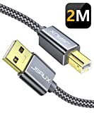 JSAUX Cable Imprimante USB [2M] Câble USB A vers USB B Imprimante Câble Type B pour imprimante HP, Canon, Dell, Epson, Lexmark, Pixma, Xerox, Brother, Samsung, Hero etc-Gris