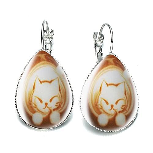 Cappuccino Kaffee Lange hängende Ohrringe Mokka Kaffee Wasser Tropfen Indien Ohrringe Freundin Geschenk I Miss U Love Coffee Prese