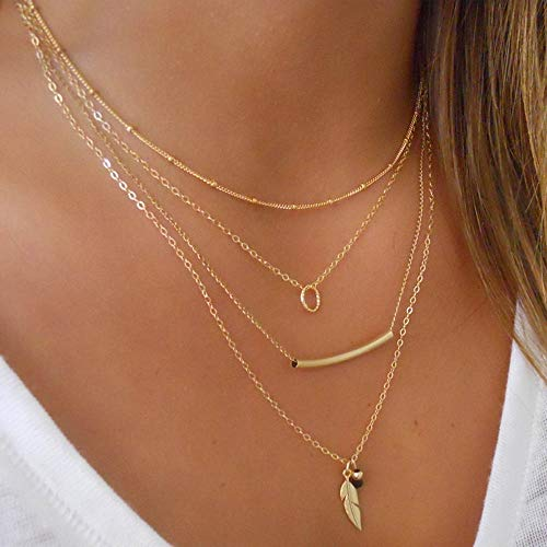Jovono Bohemian Multi - Layer Necklace with Leaf Pendant For Women and Girls (Gold)