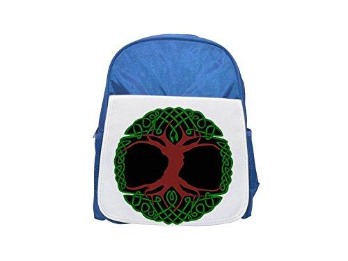 Mochila azul para niños con estampado de árbol celta, lindas mochilas pequeñas, lindas mochila negra, mochila negra fresca, mochilas de moda, mochilas grandes de moda, mochila negra de moda