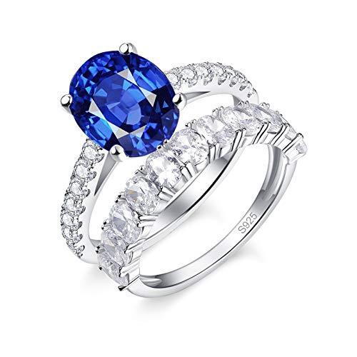BONLAVIE 925 en Argent Sterling Femmes Bague de fiançailles Ensemble Coupe Ovale créé Bleu Saphir éternité Bague de Mariage Ensemble pour Les Femmes Taille 54