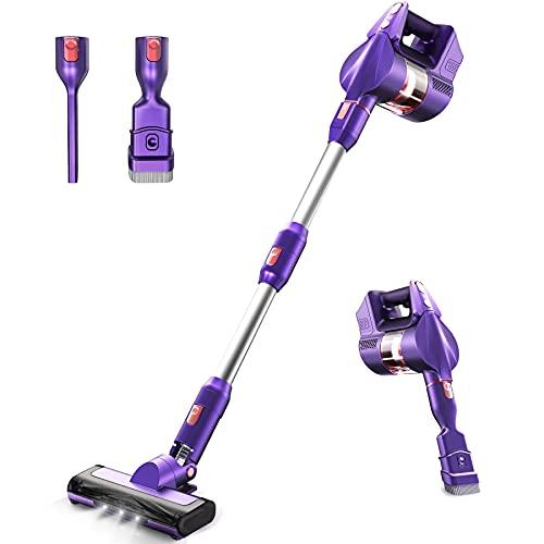 Cordless Vacuum Cleaner, ZIENNOQ 265W Stick Vacuum Cleaner 3 Speed Lightweight Vacuum Cleaner with Detachable Battery LED Headlights for Home Hard Floor Carpet Pet Hair