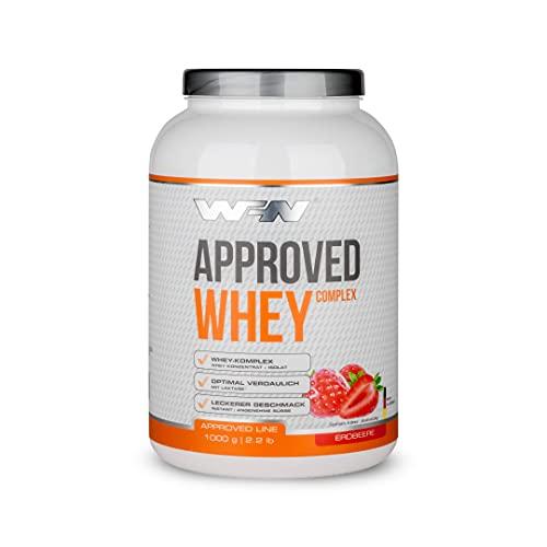 WFN Approved Whey - Erdbeere - 1 kg Dose - Eiweißpulver mit Laktase - Sehr gut lösliches Molkenprotein - 33 Portionen - Made in Germany