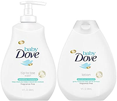 Baby Dove Sensitive Moisture Bundle: Tip to Toe Wash and Lotion, 13 OunceEach from Dove