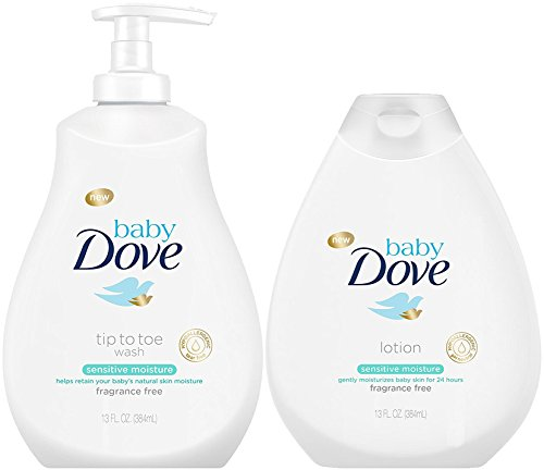 Baby Dove Sensitive Moisture Bundle: Tip to Toe Wash and Lotion, 13 Ounce Each