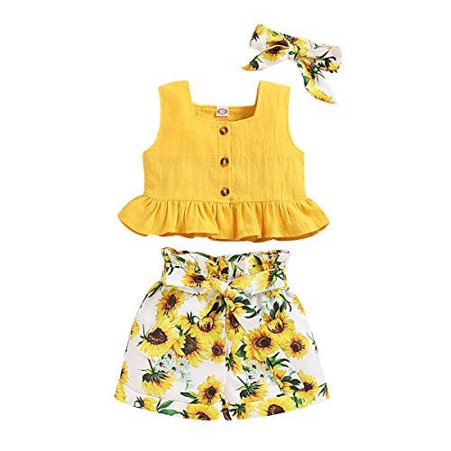 T TALENTBABY Kleinkind Kinder Baby Mädchen Sommer Kleidung Anzug Ärmellose Blumen Rüschen Tops T-Shirt + Sonnenblumen Shorts + Stirnband 3 Stück Outfits Kleidung Set, Gelb, 3-4 Jahre