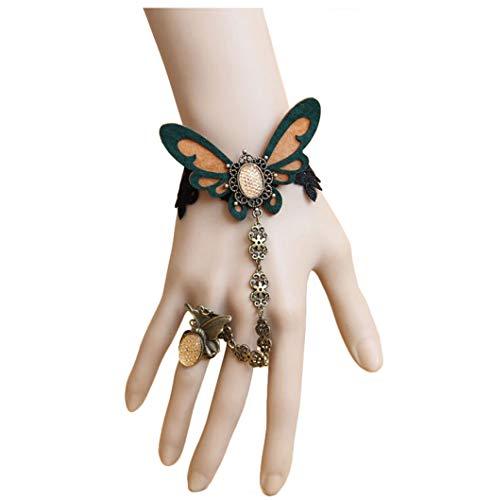 Cebilevin Mode Vintage Schmetterling Armband mit Ring Abschlussball weiblich DIY