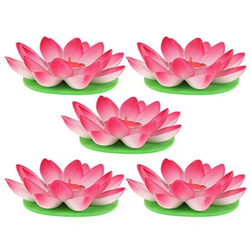 OSALADI Schwimmkerzen Lotus Kerzen Wasserlaterne Künstliche Lotusblüte Seerose Schwimmlaterne Laterne mit Kerze für Pool Teich Garten Hochzeit Party Dekoration Rot 5 Stück