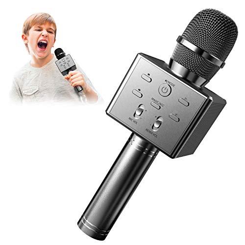 BeTIM Micrófono Inalámbrico de Karaoke Bluetooth para Niños, Micrófono de Karaoke Portátil de Mano con Altavoz, Compatible con Android/iOS/PC/AUX, para KTV en Casa/Fiesta al Aire (Negro)