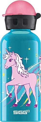 SIGG Bella Unicorn Kinder Trinkflasche (0.4 L), schadstofffreie Kinderflasche mit auslaufsicherem Deckel, federleichte Trinkflasche aus Aluminium