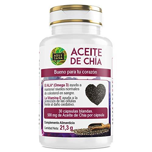 Aceite de Chía -Aquisana | salud para nuestro organismo - Complemento alimenticio de cápsulas de chía | Extracto de semillas de chía con omega 3, 6 y 9 y vitamina E - libre de alérgenos -30 cápsulas