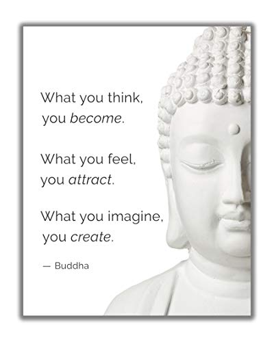Buddha Quote 'What You Think You Become' Inspirational Wall Art - 11x14 UNFRAMED Decor Print with a Message of Peace, Healing & Happiness. Makes a Great Meditation, Zen Gift