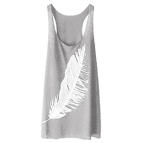 Camiseta de mujer con estampado de plumas larga suelta y suave sin mangas para mujer