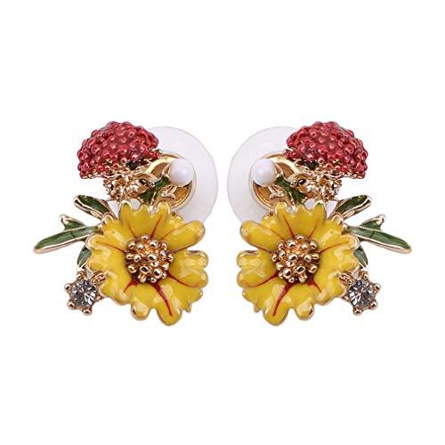Pinhan Mode Blumen Pilz Emaille Ohrring Kreative Daisy Floral Tropföl Ohrstecker Wald Stil Ohrschmuck für Frauen Damen,A2204 黄色花(925银针)