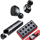 Bluetooth 5.0 Bass Earphones Rechargeable, 40H Playtime, IPX7 Waterproof, Linklike QUAD Drivers Wireless Headphones, HD Calls with Dual Mic, Intelligent Noise Cancelling, Earbuds for Gym