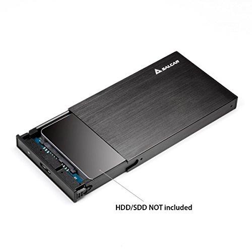Salcar Aluminium 2,5 Zoll Externes Festplattengehäuse für 9.5mm 7mm 2.5 Zoll HDD SSD Case Gehäuse mit SATA 3 USB 3.0 Kabel Unterstützung UASP (Schwarz)